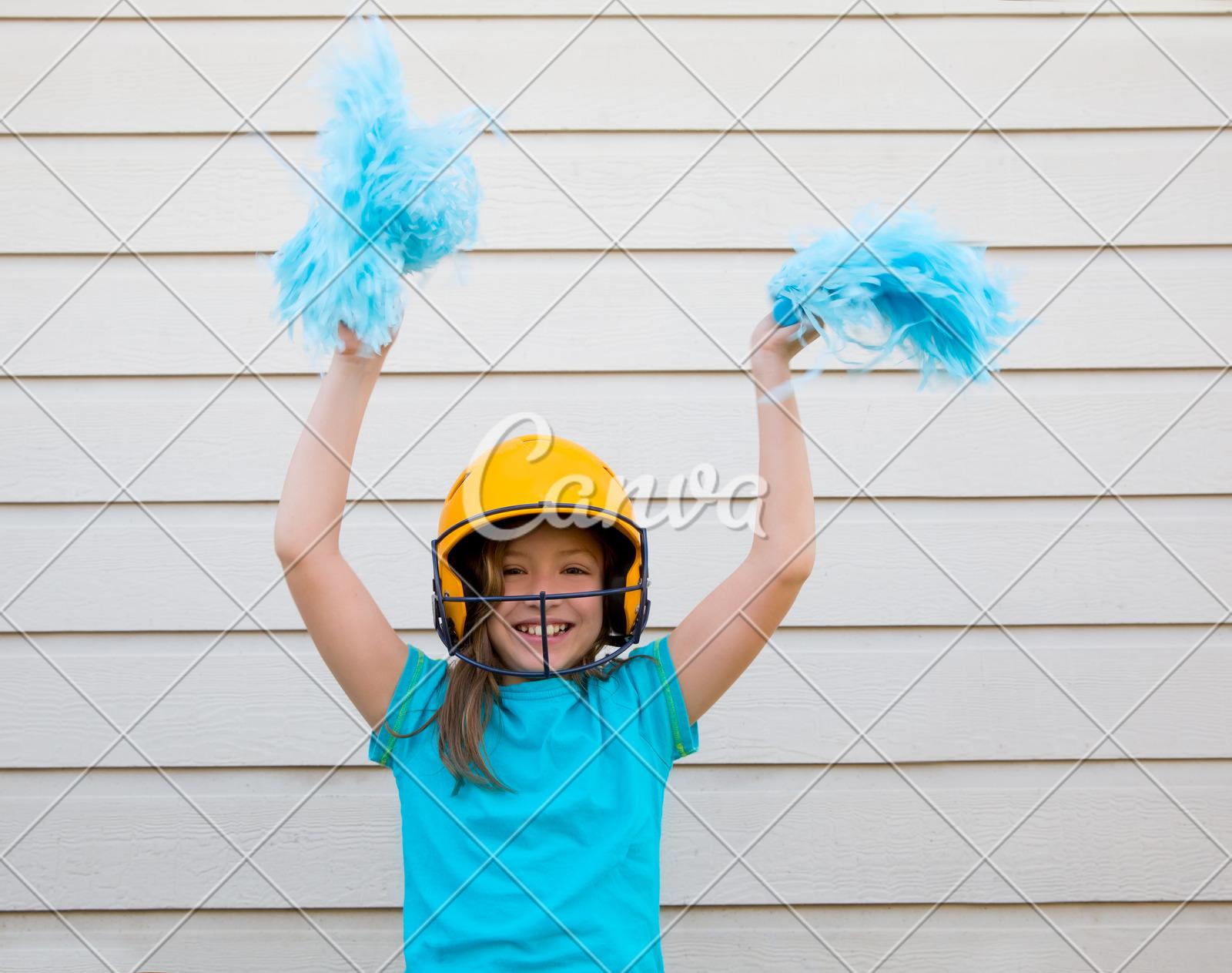 Baseball Cheerleading Pom Poms Girl Happy Smiling