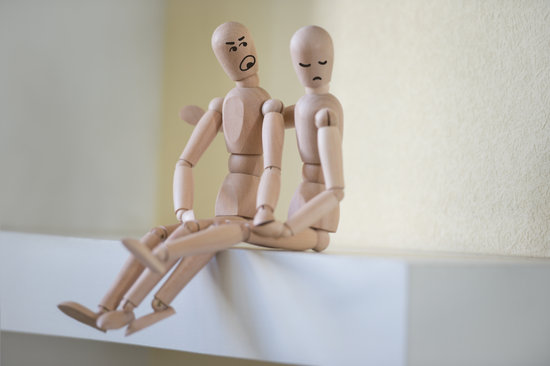 Wooden People Sitting at Home in Quarrel. People Relationship