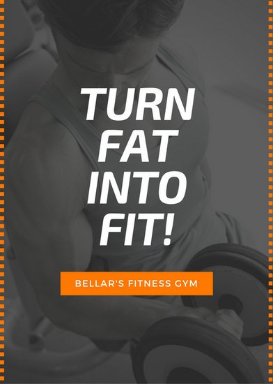 black orange gym fitness advertisement flyer