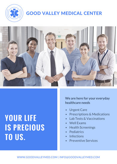 blue medical center corporate advertisement flyer
