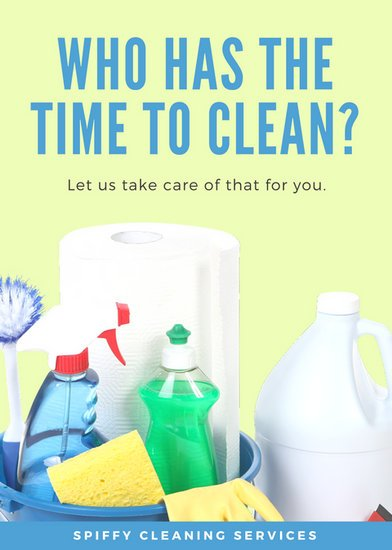 Lime Green and Blue Cleaning Supplies Service Flyer Templates by Canva