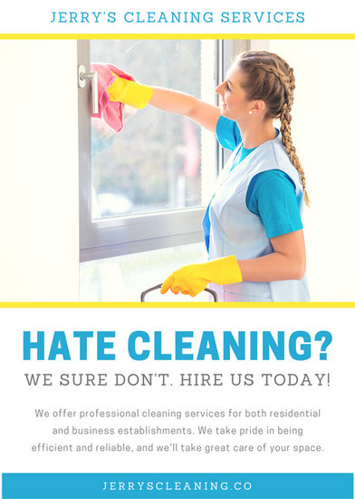 blue and yellow woman cleaning window flyer