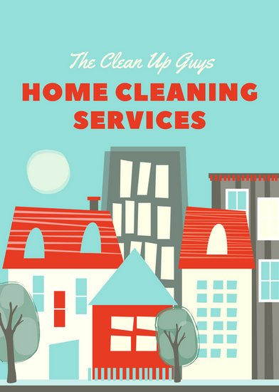 blue red home cleaning services flyer