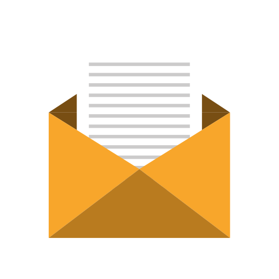 Open Yellow Envelope, Vector Graphic