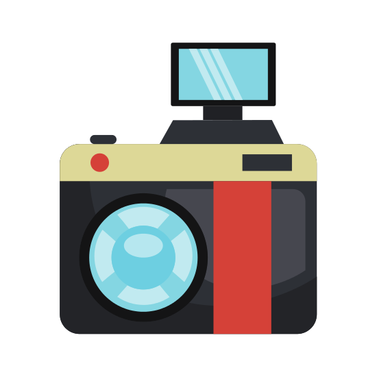 Vintage Camera Isolated Flat Icon