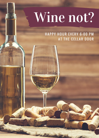 Wine Bar Happy Hour Flyer Templates By Canva
