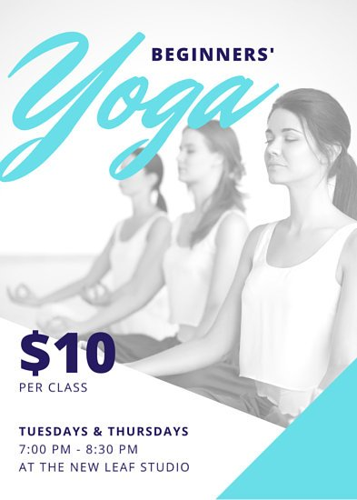 Turquoise Blue Yoga Fitness Flyer  Templates By Canva