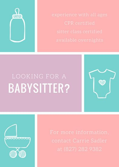 Pastel Babysitter Flyer - Templates by Canva