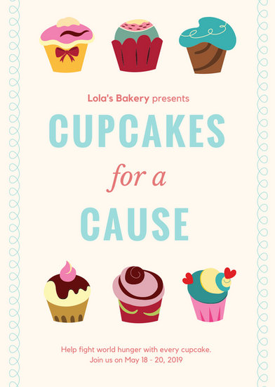 Cupcake Fundraiser Flyer Templates By Canva