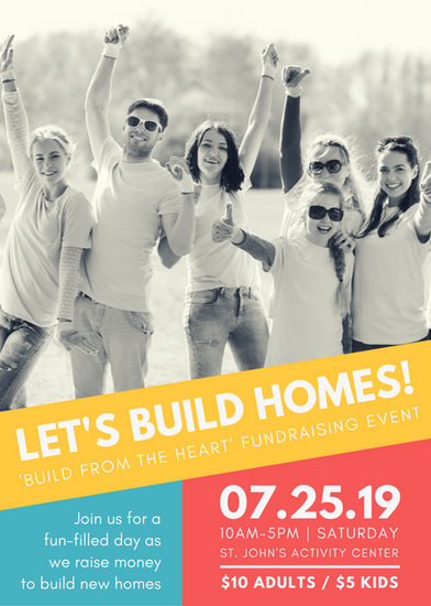 yellow blue red house building fundraiser flyer