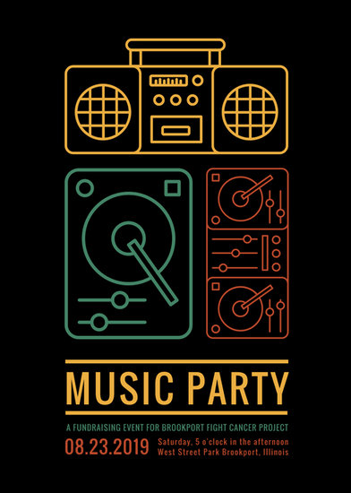 Music Party Fundraiser Flyer Templates By Canva