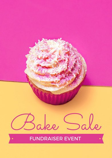Pink And Yellow Bake Sale Fundraiser Flyer  Templates By Canva