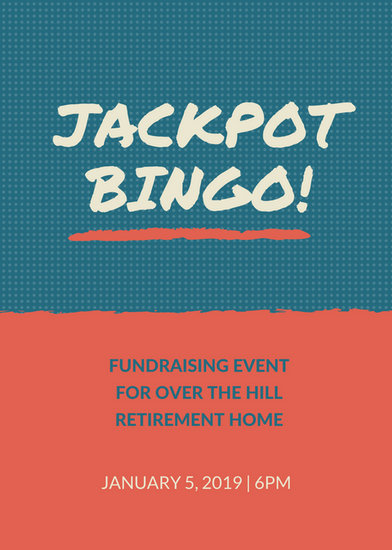 dotted green and orange bingo fundraiser flyer