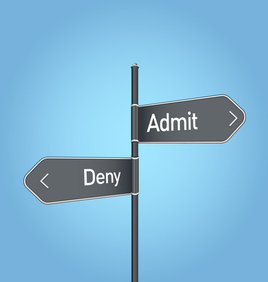 Admit Vs Deny Choice Road Sign