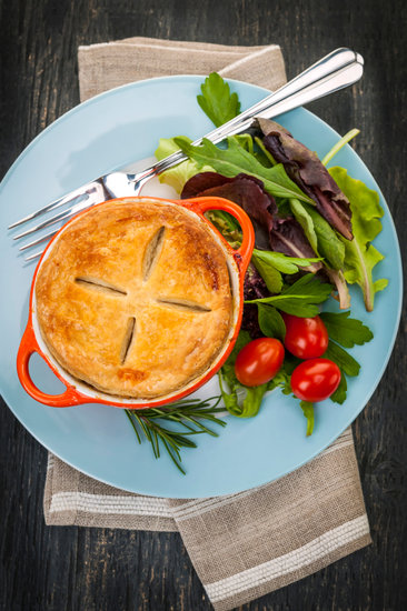 Homemade Potpie Meal with Salad