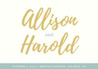 Mustard and Teal Script Font Rustic Wedding RSVP Postcard