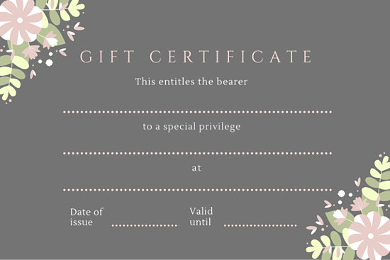 Gray floral special privilege gift certificate templates by canva yadclub Gallery