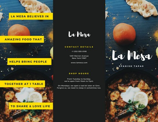 Spanish Restaurant Brochure  Templates By Canva