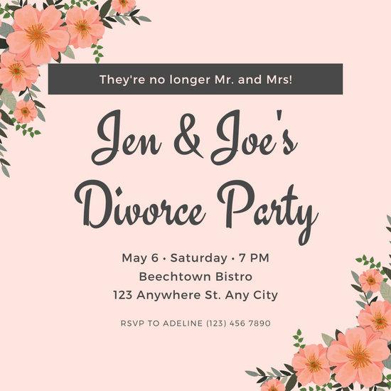 Peach Floral Border Divorce Party Invitation