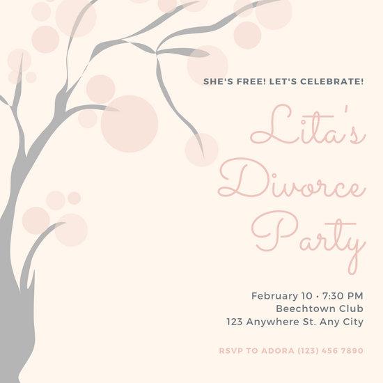 Old Rose Script Divorce Party Invitation