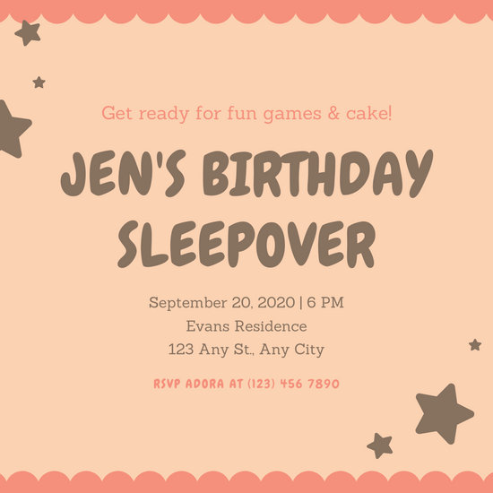 Peach with Stars Pajama Party Invitation