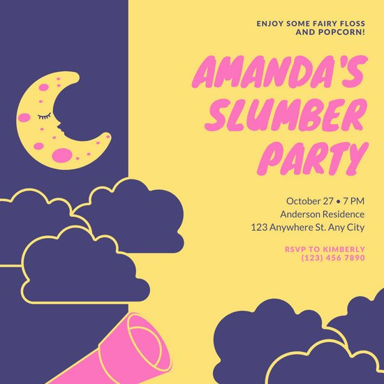 Pink Yellow Clouds Sleepover Invitation