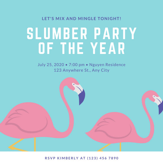 Pink and Blue Flamingo Sleepover Invitation