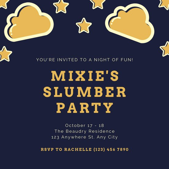 Dark Blue Yellow Stars and Clouds Sleepover Invitation