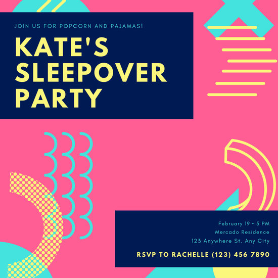 Pink Abstract Shapes Sleepover Invitation