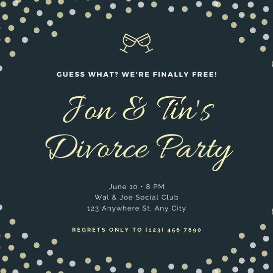 Dark Blue Polka Dots Divorce Party Invitation