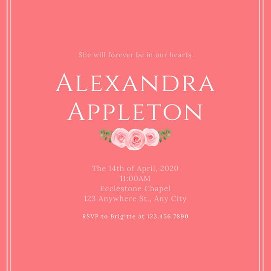 Pink Bordered Floral Memorial Invitation