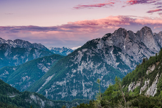 Colorful Sunset over High Julian Alps Peaks, Pink Sky