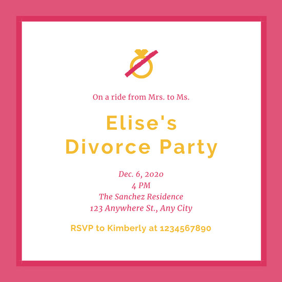 Red Bordered Ring Divorce Party Invitation