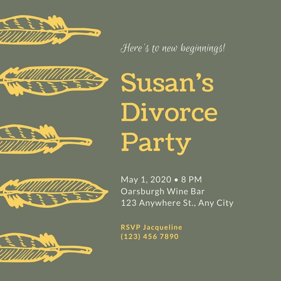 Green with Feathers Divorce Party Invitation