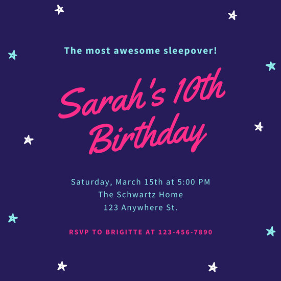 Neon Sleepover Birthday Invitation