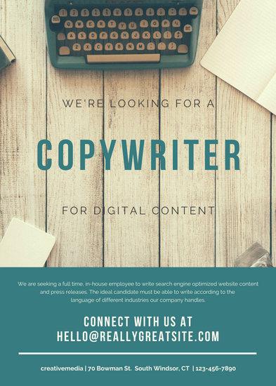 Teal Typewriter Job Vacancy Announcement