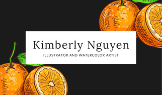 Orange Watercolor Painting Business Card
