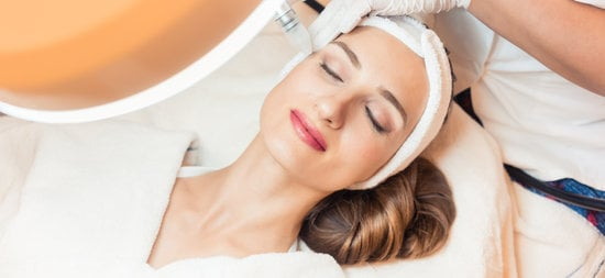 Close-up of the Face of a Woman Relaxing in a Modern Beauty Center