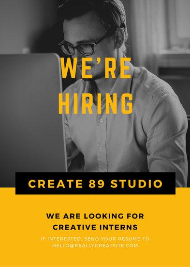Black Yellow Working Man Job Vacancy Announcement