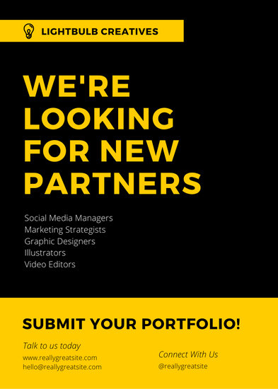 Black & Yellow Modern Job Vacancy Announcement
