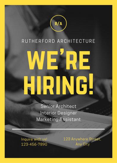 Yellow Black and White Photo Job Vacancy Announcement