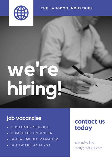 Blue Grayscale Photo Job Vacancy Announcement