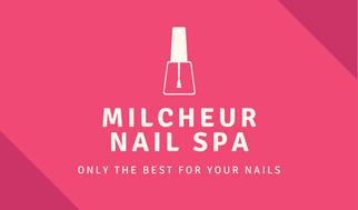 Pink Floral Illustration Border Nail Salon Business Card