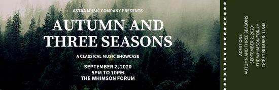 Dark Green Forest Photos Simple Concert Ticket