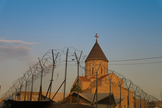 Armenian Church Behind a Barbed Wire in Baghdad