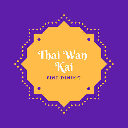 Purple and Yellow Floral Dots Thaithai Restaurant Logo