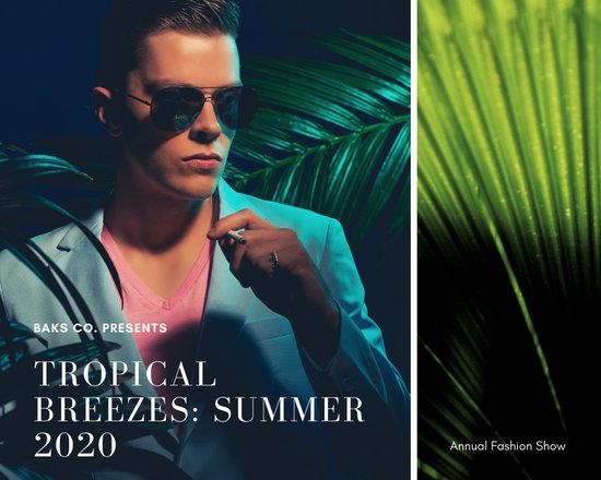 Dark Cool Colors Tropical Men's Fashion Photo Collage