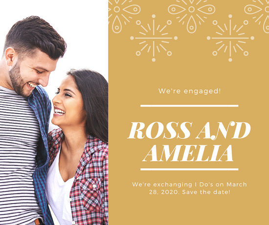 Gold Confetti Engagement Announcement Facebook Post