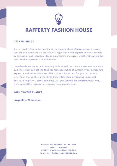 Pastel Abstract Shapes Personal Letterhead