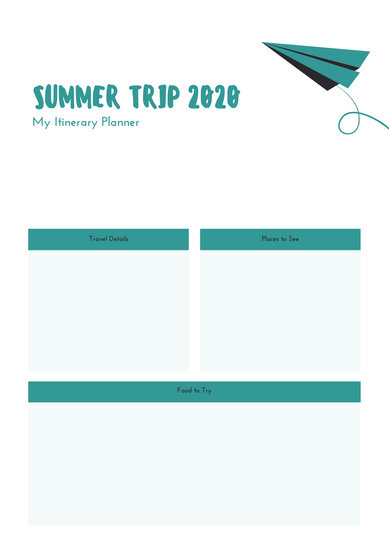 Teal Plane Itinerary Planner